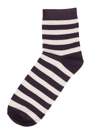 Black sock in a light yellow stripes on white background Stock Photo - 17374608