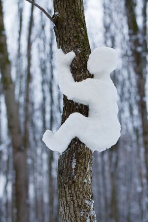 Little man made ​​of snow, crawling up the tree photo