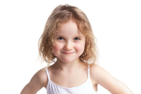 mirth: Happy little girl on a light gray background