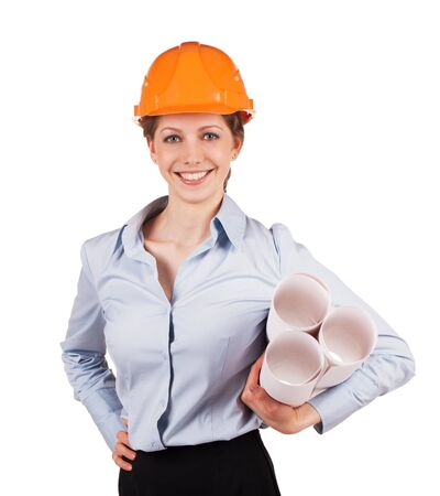 construction plans: Young woman in a helmet with construction plans