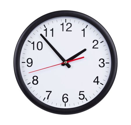 time  clock: Round office clock shows five minutes to two