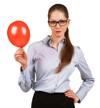 dilate: Pretty happy woman with inflated red ball