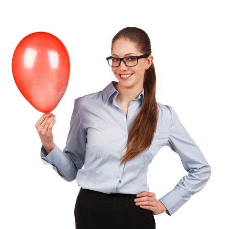 inflated: Stylish girl in glasses with red inflated ball Stock Photo