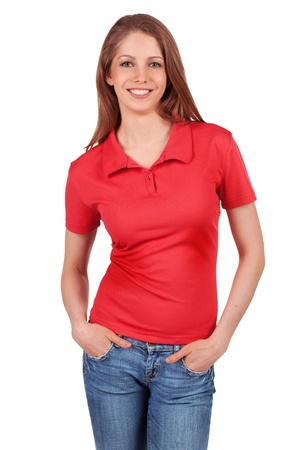 Pretty brunette in blue jeans and a red t-shirt photo
