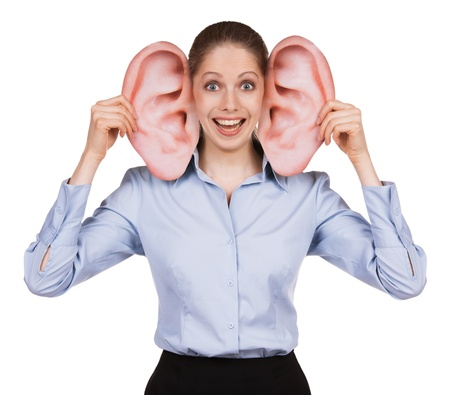 vestibular: Cheerful young woman with big funny ears