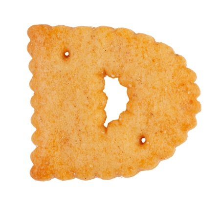 Ruddy tasty cookies in the form of the letter  d  photo