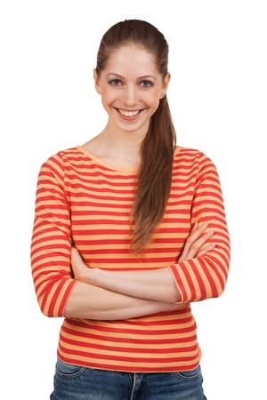 gaily: Cheerful beautiful girl in a striped T-shirt Stock Photo