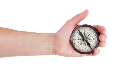 Geographical compass in human hand on white background photo
