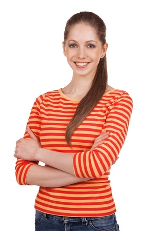 gaily: Beautiful young woman in a striped t-shirt Stock Photo
