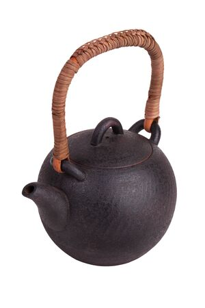 Clay Chinese teapot on a white background photo