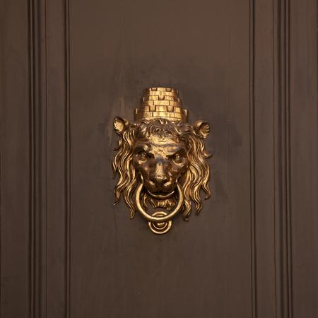 doorhandle: Antique doorhandle in the form of lion muzzle