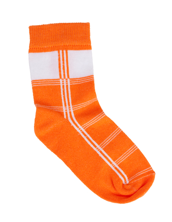 gaiters: Orange knitted sock in a thin white stripes
