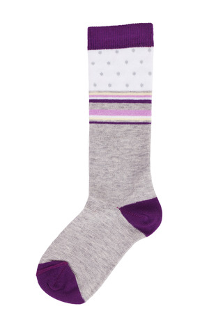 Long sock gray and purple on a white background photo