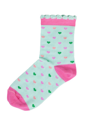 Light green knitted socks with hearts on a white background photo