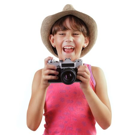 gaily: Cheerful girl with a camera in hand Stock Photo