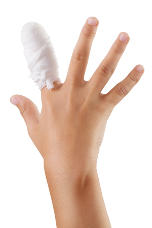 painfully: Human hand with a bandaged finger bandage Stock Photo