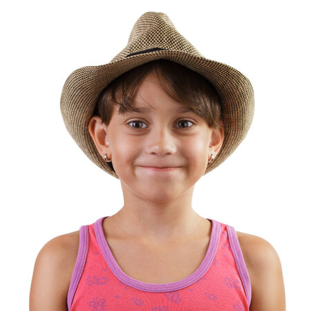 gaily: Smiling little girl in straw hat on white background