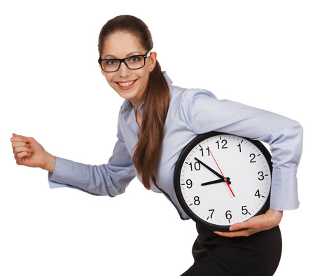 employe: Young girl with glasses runs with a clock in his hands