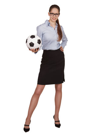 employe: Pretty girl with a soccer Ball in hand