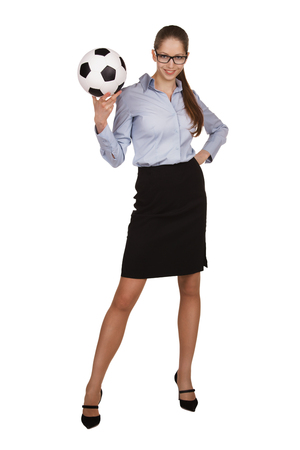 employe: Beautiful stylish woman with a soccer Ball Stock Photo