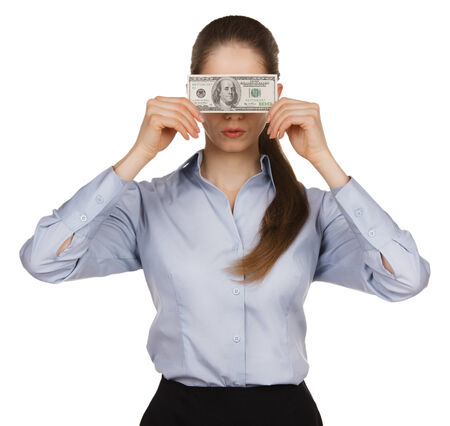avidity: Young woman blocking the face of hundred dollar bills Stock Photo