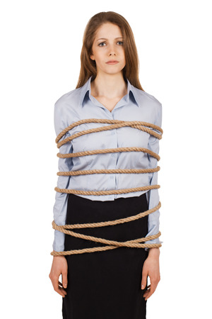 Sad young woman tied a strong rope