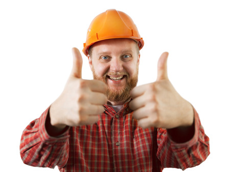 mounter: Cheerful, bearded man in an orange construction helmet Stock Photo