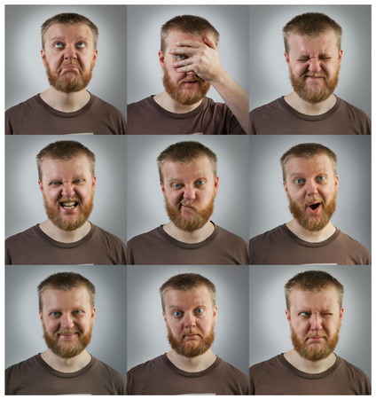 Portraits of red-bearded young men with different emotions