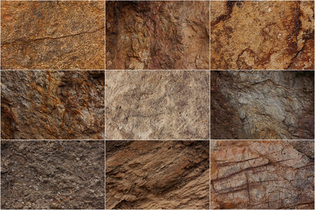 hardwearing: Stone surfaces with different textures and colors Stock Photo