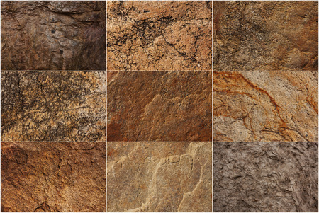 hardwearing: Set of stone surfaces of different colors and textures