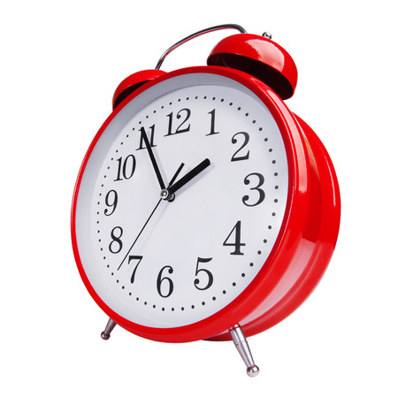 peal: Big red alarm clock on white background