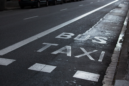 hardwearing: Taxi and bus inscriptions painted on the roadway