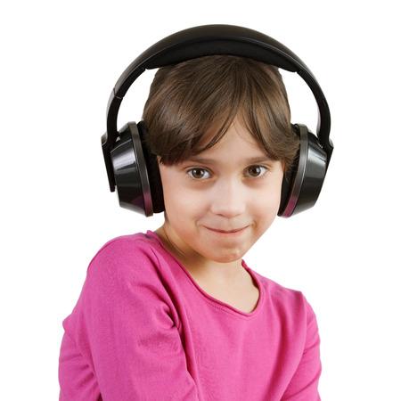 blithe: Little girl listening to music on headphones