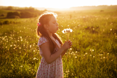 blithe: Girl in dress blowing a bouquet of dandelions Stock Photo