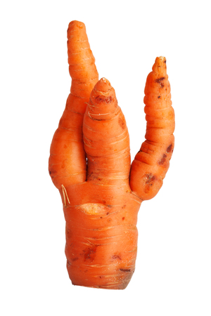 uncouth: Twisted ripe carrot on a white background Stock Photo