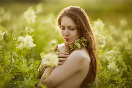 Beautiful long-haired woman standing in high wildflowers photo