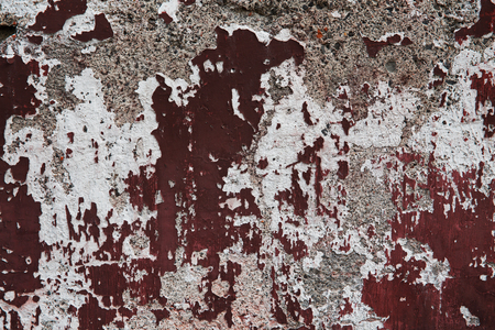 plastered: Old cracked plastered surface burgundy and white Stock Photo