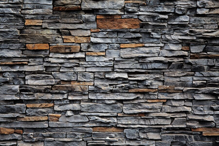 foundation cracks: Old brick wall from a flat stone Stock Photo
