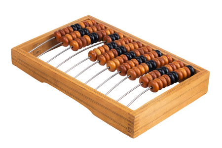 reckon: Old wooden abacus lay on a white background