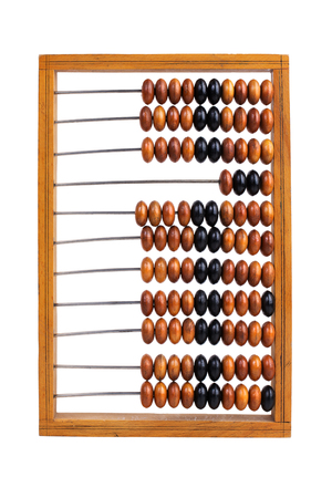 reckon: Big old wooden abacus lay on a white background