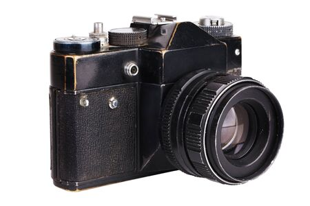 the outmoded: Old film camera in black on a white background
