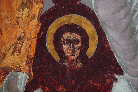 sanctity: Frescoes in the church with a picture