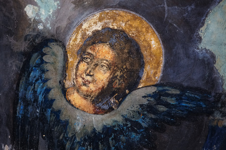 aureole: Image of a saint on frescoes in the church Stock Photo