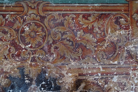 tempera: Vintage painted on plaster in the church Stock Photo