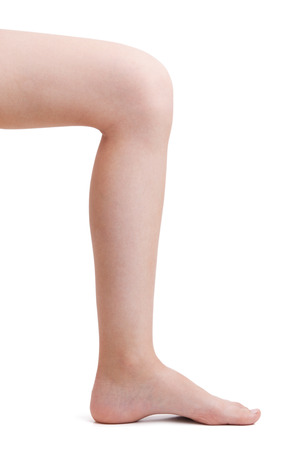 flatfoot: Leg bent at the knee on a white background
