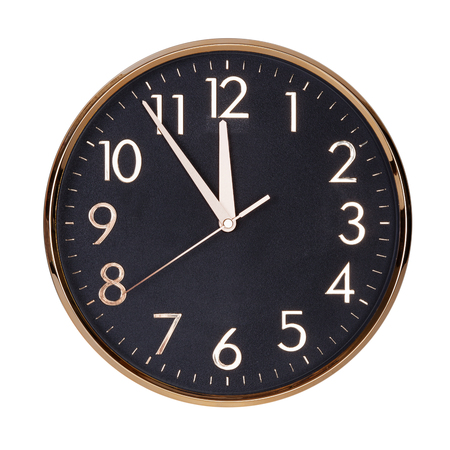 12 hour: Five to twelve on the round clock face
