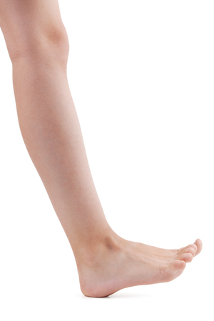 gastrocnemius: Right human foot comes on the heels Stock Photo