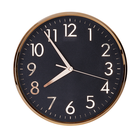 clockwise: Five to eight hours on a round dial