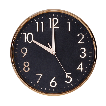 10 12: Exactly ten on the round clock face Stock Photo