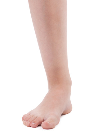 flatfoot: Left human foot on a white background Stock Photo